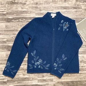 Pendleton Floral Embroidered ZIp Up Wool Cardigan